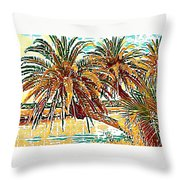 Abstracted Loop Palms Throw Pillow