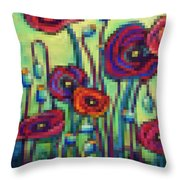 Abstracted Poppies Throw Pillow
