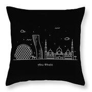 Abu Dhabi Skyline Travel Poster Throw Pillow