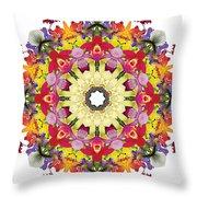Abundantly Colorful Orchid Mandala Throw Pillow