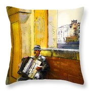 Accordeonist In Florence In Italy Throw Pillow