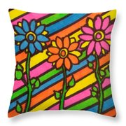 Aceo Abstract Flowers Throw Pillow