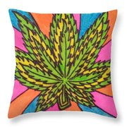 Aceo Cannabis Abstract Leaf  Throw Pillow