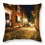 Acorn Street Autumn Boston Mass Painterly Throw Pillow