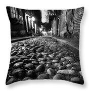 Acorn Street Cobblestone Detail Boston Ma Black And White Throw Pillow