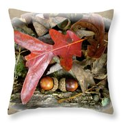 Acorns And Oak Leaves Throw Pillow