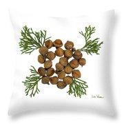 Acorns With Cedar Throw Pillow