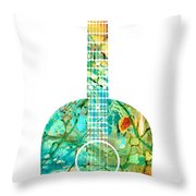 Acoustic Guitar 2 - Colorful Abstract Musical Instrument Throw Pillow