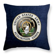 Acquisition Corps - A A C Branch Insignia Over Blue Velvet Throw Pillow