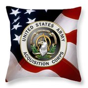 Acquisition Corps - A A C Branch Insignia Over U. S. Flag Throw Pillow