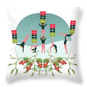 Acrobatic Parcel Delivery Throw Pillow