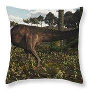 Acrocanthosaurus Dinosaur Roaming Throw Pillow