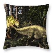 Acrocanthosaurus Hunting Tenontosaurus Throw Pillow