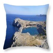 Acropolis Of Lindos Rhodes Throw Pillow