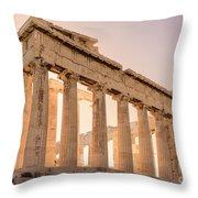 Acropolis Parthenon At Sunset Throw Pillow