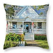 Across From The Harbor Throw Pillow
