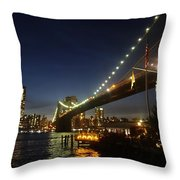 Across The Brooklyn Bridge To Manhattan At Night Throw Pillow