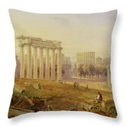Across The Forum - Rome Throw Pillow by Hugh William Williams