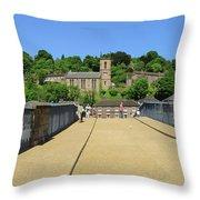 Across The Iron Bridge Throw Pillow