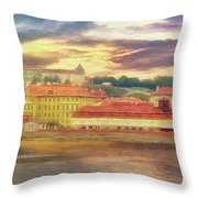 Across The River - Riverside Panorama Prague Throw Pillow by Leigh Kemp