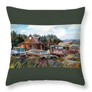 Across The Road And Gone Throw Pillow