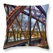 Across The Water 6th Street Rr Bridge Augusta Georgia Art Throw Pillow
