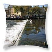 Across The Weir At Bakewell Throw Pillow