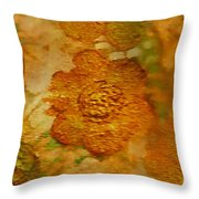 Acryl Painting Goldflowers Throw Pillow