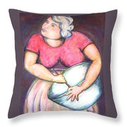 Acrylic Painting Figurative Throw Pillow