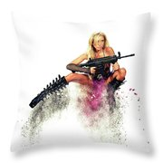 Action Girl Throw Pillow
