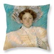 Adaline Havemeyer In A White Hat Throw Pillow