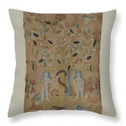 Adam & Eve Embroidered Picture Throw Pillow