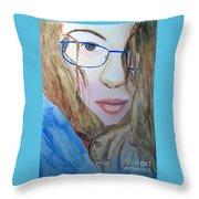 Addie In Blue Throw Pillow