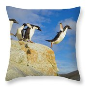 Adelie Penguins Jumping Throw Pillow