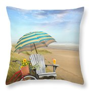 Adirondack Chair With Bicycle And Umbrella By The Seaside Throw Pillow