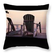 Adirondack Chairs Dockside At Lavender Haze Twilight Throw Pillow