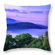 Adirondack Mountains In Fog Throw Pillow