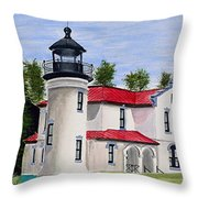 Admiralty Head Lighthouse Throw Pillow