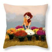Admiring The Mums Throw Pillow