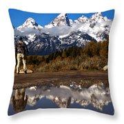 Admiring The Teton Sights Throw Pillow