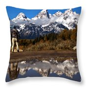 Admiring The Teton Sights Throw Pillow
