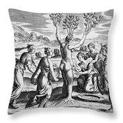 Adonis Being Born From Myrrha Throw Pillow