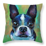 Adorable Boston Terrier Dog Throw Pillow