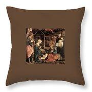 Adoration Of The Child With Saints 1460 65 Fra Filippo Lippi Throw Pillow