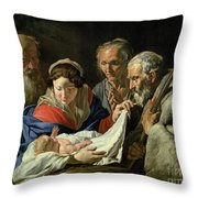Adoration Of The Infant Jesus Throw Pillow