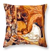 Adoration Of The Shepherds Nativity Throw Pillow