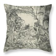 Adoration Of The Shepherds, With Lamp Throw Pillow