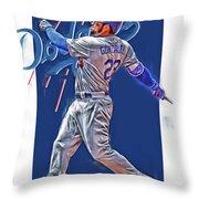 Adrian Gonzalez Los Angeles Dodgers Oil Art Throw Pillow