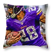 Adrian Peterson Minnesota Vikings Art Throw Pillow
