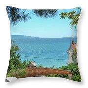 Adriatic Coast Sea View Throw Pillow